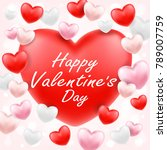 happy valentine day with pink... | Shutterstock .eps vector #789007759