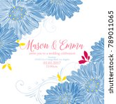 cute floral invitation with... | Shutterstock .eps vector #789011065