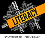 literacy word cloud collage ... | Shutterstock .eps vector #789015184