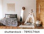 interior of bedroom with... | Shutterstock . vector #789017464