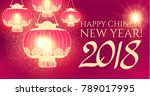 happy chinese 2018 new year... | Shutterstock .eps vector #789017995