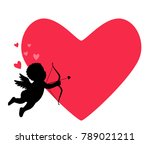 cupid of love with an arrow and ... | Shutterstock .eps vector #789021211