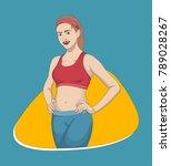 fitness girl  sport girl  happy ... | Shutterstock .eps vector #789028267