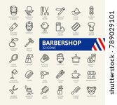 barber shop elements   minimal... | Shutterstock .eps vector #789029101