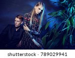 young fashion couple sitting on ... | Shutterstock . vector #789029941