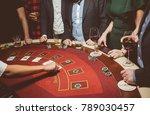 people   friends play poker... | Shutterstock . vector #789030457
