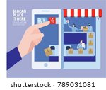 ecommerce. easy buying. small... | Shutterstock .eps vector #789031081