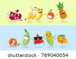 funny fruit and vegetables  ... | Shutterstock .eps vector #789040054