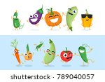 funny vegetable characters  ... | Shutterstock .eps vector #789040057