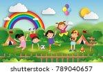 illustration of kids summer... | Shutterstock .eps vector #789040657