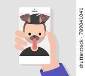 funny mobile app. dog muzzle... | Shutterstock .eps vector #789041041