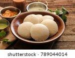 idli with sambar chutney  ... | Shutterstock . vector #789044014