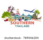 thailand travel with southern... | Shutterstock .eps vector #789046204