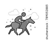 horse riding icon in flat... | Shutterstock .eps vector #789052885
