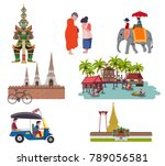 thailand travel elements with... | Shutterstock .eps vector #789056581