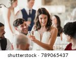 happy bride and groom are... | Shutterstock . vector #789065437