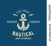 nautical retro logo or label... | Shutterstock . vector #789066049