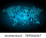 binary circuit board future... | Shutterstock .eps vector #789066067
