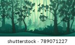 vector forest background. trees ... | Shutterstock .eps vector #789071227