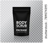 black foil body scrub pack...   Shutterstock .eps vector #789074395