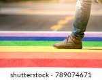woman in denim and moccasins... | Shutterstock . vector #789074671