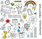 set of colorful doodle on paper ... | Shutterstock .eps vector #789077149