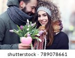 picture showing young couple... | Shutterstock . vector #789078661