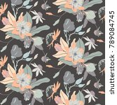 monochrome vintage flower...   Shutterstock .eps vector #789084745
