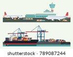 cargo logistics transportation  ... | Shutterstock .eps vector #789087244