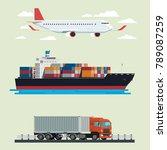 cargo logistics truck ... | Shutterstock .eps vector #789087259