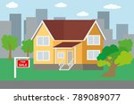 cartoon big house for sale flat ... | Shutterstock .eps vector #789089077