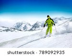 winter skier and landscape of... | Shutterstock . vector #789092935