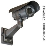Black security camera isolated...