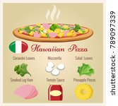 hawaiian pizza. italian pastry... | Shutterstock .eps vector #789097339