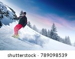 winter skier and alps mountains ... | Shutterstock . vector #789098539