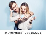 man makes present to his girl.... | Shutterstock . vector #789102271