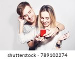 man makes present to his lovely ... | Shutterstock . vector #789102274