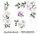 watercolor flowers. set floral... | Shutterstock . vector #789108355