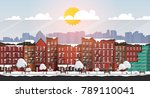 vector art frozen urban scene.... | Shutterstock .eps vector #789110041