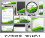 green wavy business stationery... | Shutterstock .eps vector #789118975
