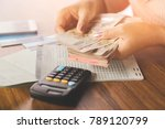 business woman hand counting...   Shutterstock . vector #789120799