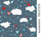 seamless pattern with clouds... | Shutterstock .eps vector #789127279