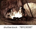 Cave People By The Fire ...