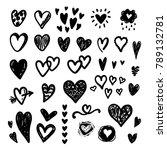 hand drawn doodle vector hearts ... | Shutterstock .eps vector #789132781