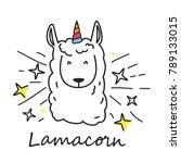 Cute Cartoon Llama Unicorn...