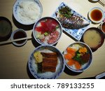 fresh japanese food in fish... | Shutterstock . vector #789133255