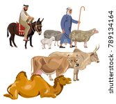 set of farm animals with... | Shutterstock .eps vector #789134164