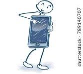 stick figure with smartphone... | Shutterstock .eps vector #789140707