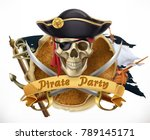 pirate party. 3d vector emblem | Shutterstock .eps vector #789145171