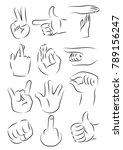 hand gestures icon vector...   Shutterstock .eps vector #789156247
